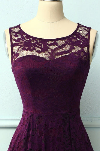 Asymmetrisches Grape Spitzenkleid
