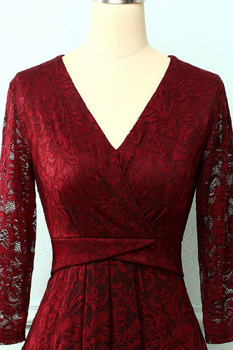 Burgundy High-Low Spitzenkleid
