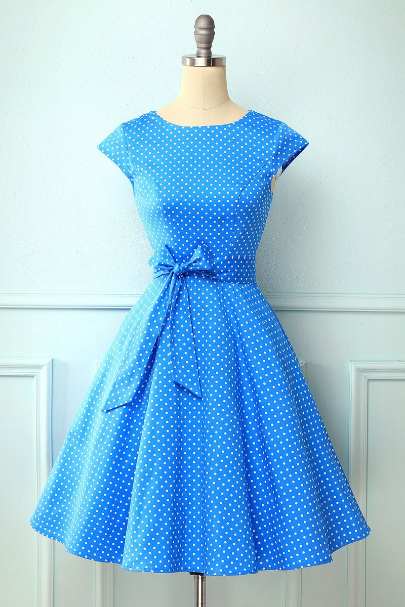 Laden Sie das Bild in den Galerie-Viewer, Polka Dots Blau 1950er Swing Kleid