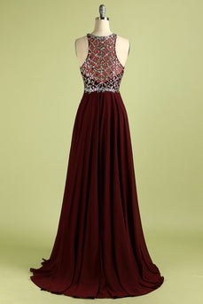 Burgundy Pailletten Langes Ballkleid