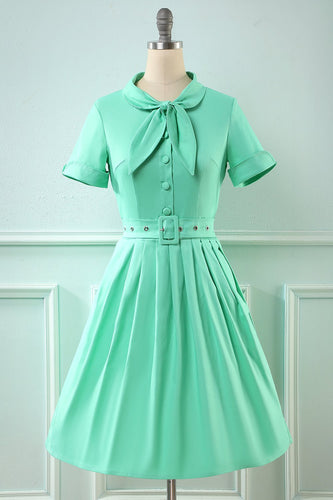 Retro-Stil Scoop blau Vintage Kleid