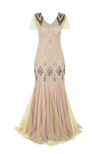 Rosa 1920er Pailletten Flapper Langes Kleid