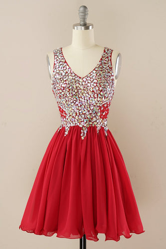 Rotes Strass Homecoming Kleid