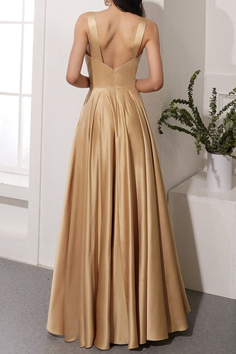 Champagner Satin Langes Kleid