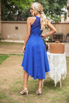Polka Dots Neckholder High-Low Vintage Kleid