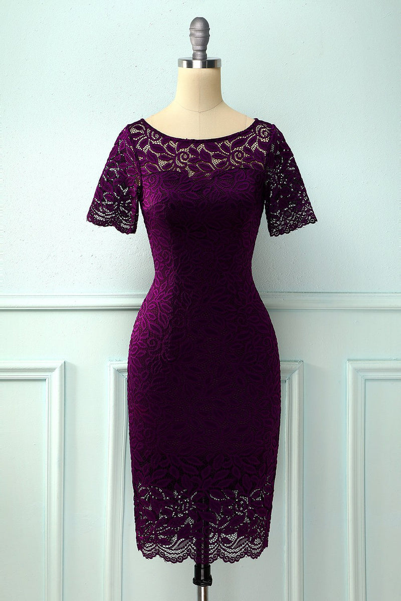 Laden Sie das Bild in den Galerie-Viewer, Grape Bodycon Spitzenkleid