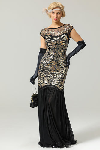 Schwarz Gold Mermaid Flapper Kleid