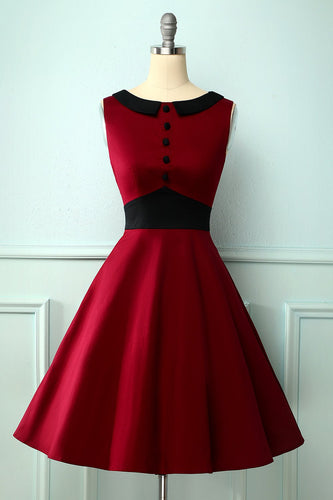 Vintage Burgundy Peter Pan Kragen Kleid