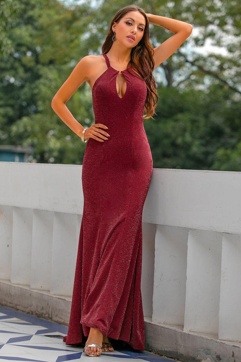 Laden Sie das Bild in den Galerie-Viewer, Funkeln Burgundy Mermaid Ballkleid