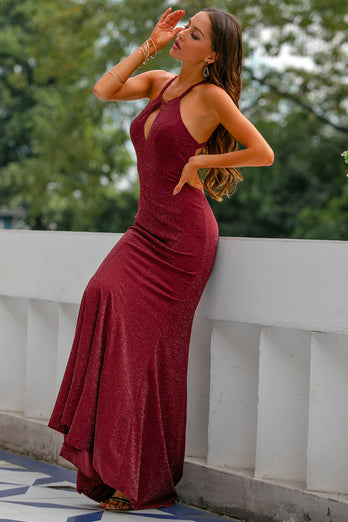 Funkeln Burgundy Mermaid Ballkleid