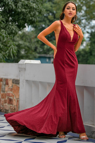 Burgundy Mermaid Langes Ballkleid