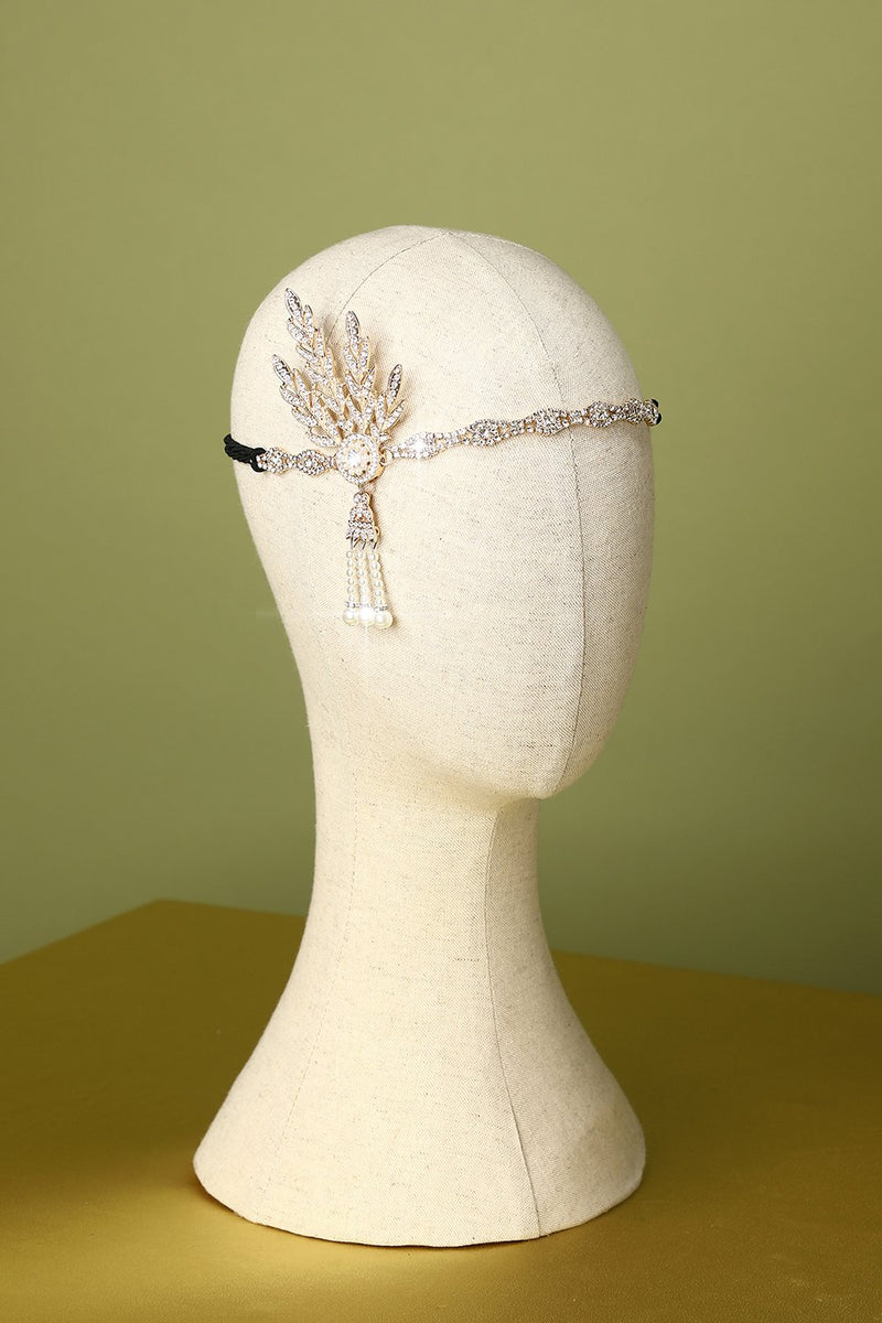Laden Sie das Bild in den Galerie-Viewer, Weiß Strass 1920er Flapper Stirnband