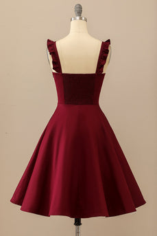 Burgundy Midi Swing Kleid