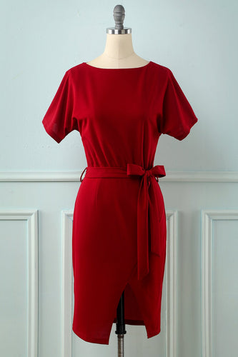 Burgundy Bodycon Vintage Kleid