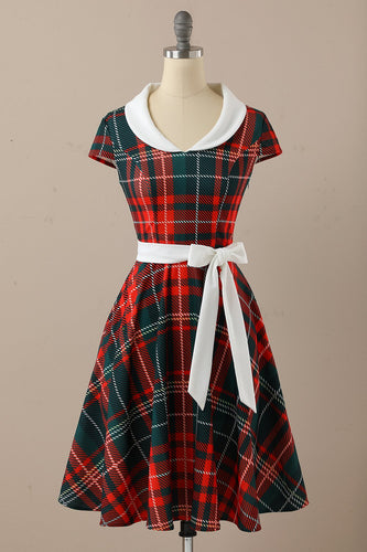 1950er Rote Plaid Swing Kleider