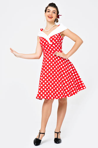 Off Schulter Polka Dots Kleid