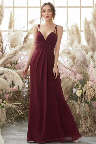 Burgundy Chiffon Brautjungfernkleid