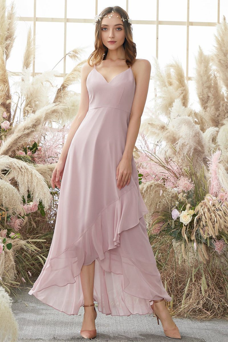 Laden Sie das Bild in den Galerie-Viewer, Blush Hoch Niedrig Chiffon Brautjungfernkleid