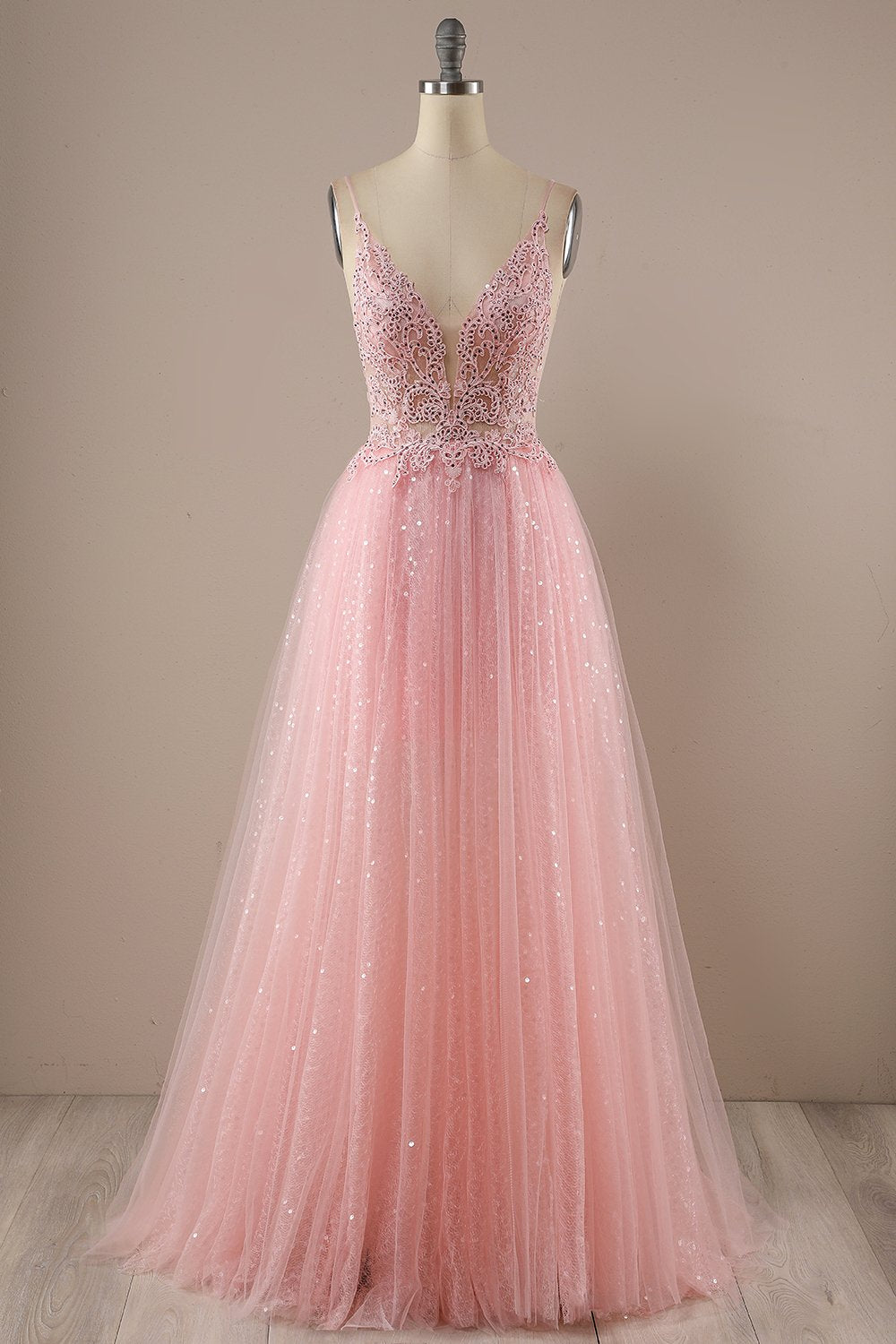 Rosa Langes Prom Party Kleid