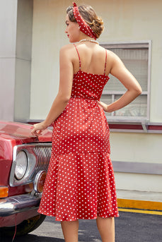 Rot Weiß Polka Dots Sommer Partykleid
