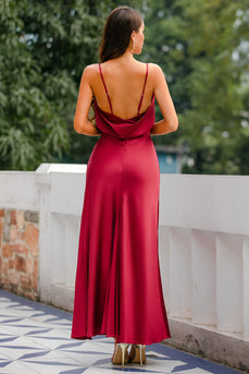 Mermaid Burgundy Langes Ballkleid