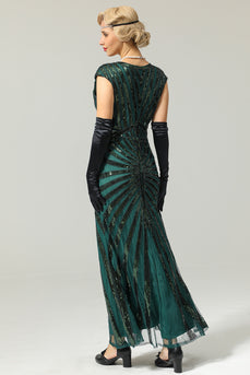 Grün Mermaid 1920er Pailletten Flapper Kleid