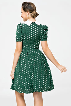 Retro Stil Polka Dots Grün Swing Kleid