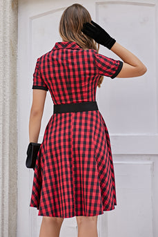 Rot 1950er Plaid Swing Vintage Kleid