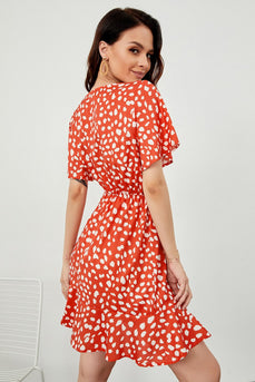 Orange Print Sommerkleid
