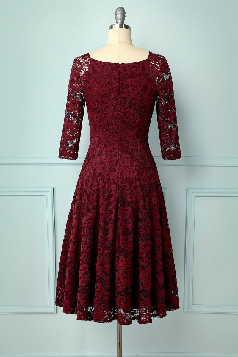 Laden Sie das Bild in den Galerie-Viewer, Dark Red Lace Midi - ZAPAKA