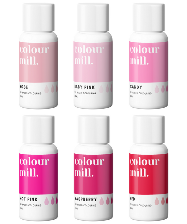 Oil Based Colouring 20ml 6 Pack Pink