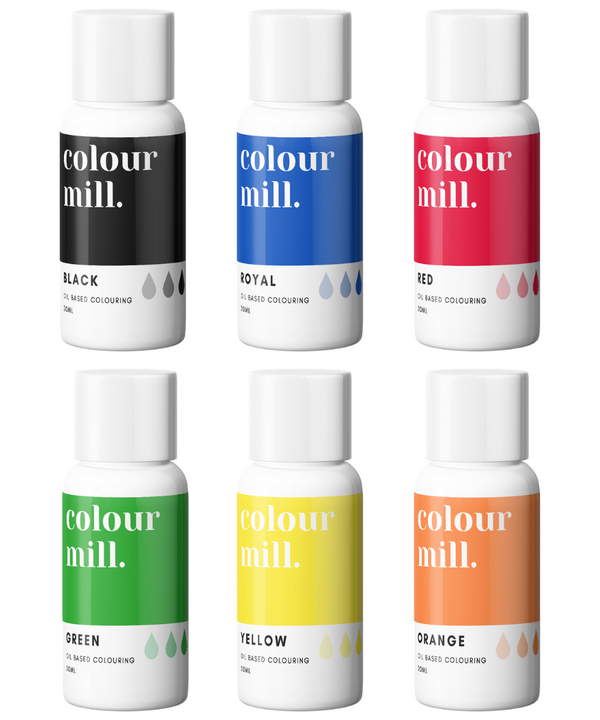 Oil Based Colouring 20ml 6 Pack Primary