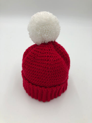 Knitted Pom Pom Hat - Red hat with White Pom Pom