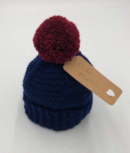 Knitted Pom Pom Hat - Navy hat with Rust Pom Pom