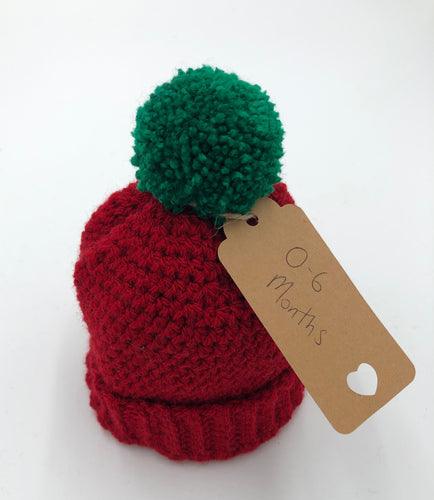Knitted Pom Pom Hat - Red hat with Green Pom Pom