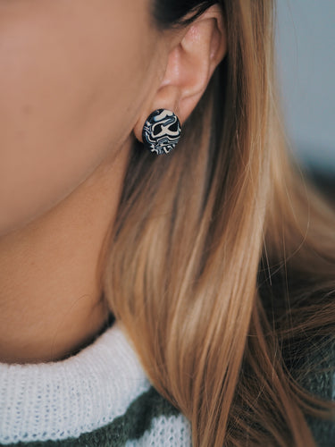 Studio Fara Black Stud Ear Rings