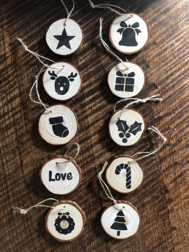 Natural Wooden Tree decorations - set of 10