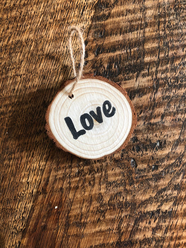Natural Wooden Tree decorations - Love
