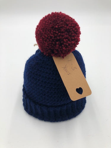 Knitted Pom Pom Hat -Navy hat with rust pom pom