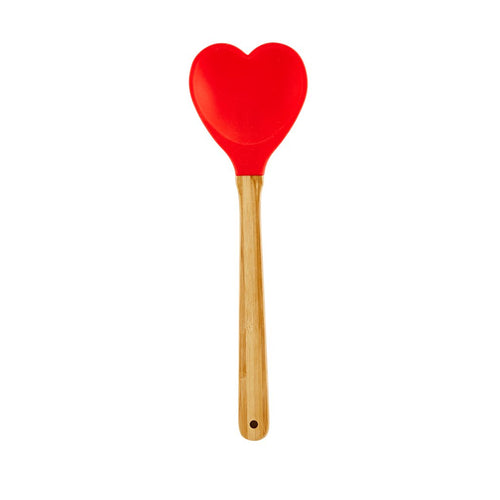 Heartshaped Silicon Spoon - Red