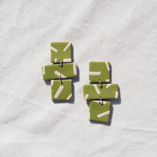 Studio Fara Olive Green Line Statement Ear Rings