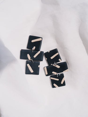 Studio Fara Black Line Statement Ear Rings