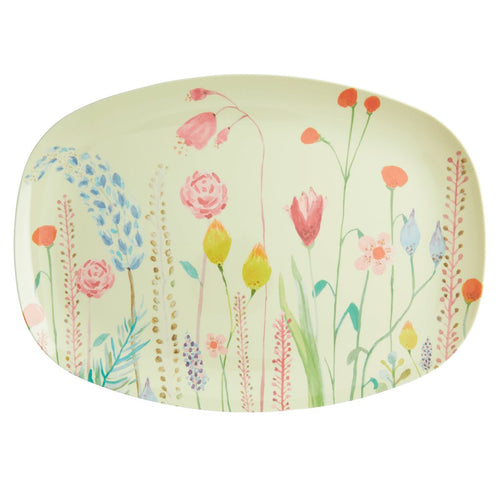 Melamine - Rectangle Plate - Spring Flowers