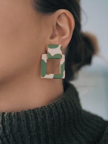 Studio Fara Open Stud Green Ear Rings