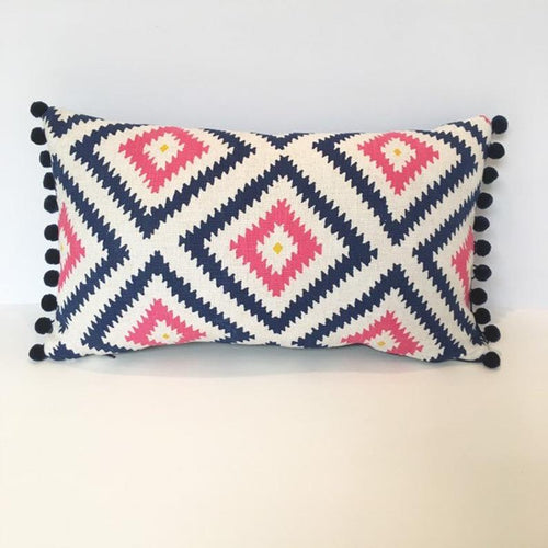 Bluebird upholstery geometric cushion