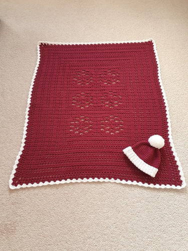 Knitted Red blanket with hat handmade