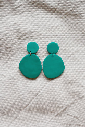 Block Earrings Peacock Green