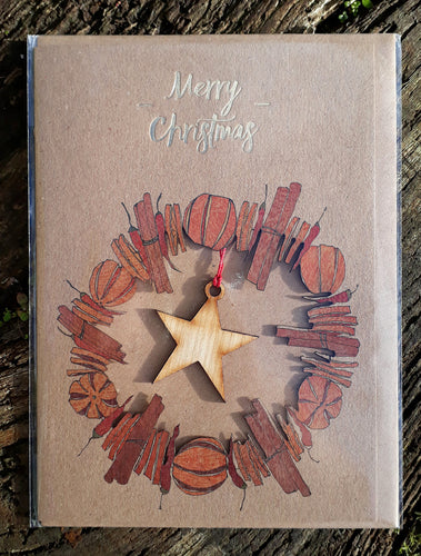 Merry Christmas - Orange Cinnamon Wreath with Wooden Star Decoration