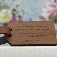 5th Anniversary Wood Luggage Tag with Lyrics