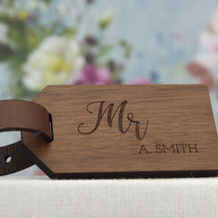 Wood Anniversary Luggage Tag Mr & Mrs
